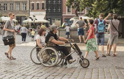 two wheelchair users outdoor