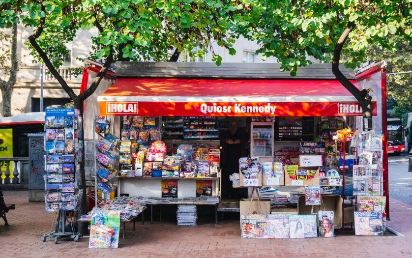 Shop Kiosk street vendor in Barcelona Spain Europe Lifestyle, Barcelona, Spain