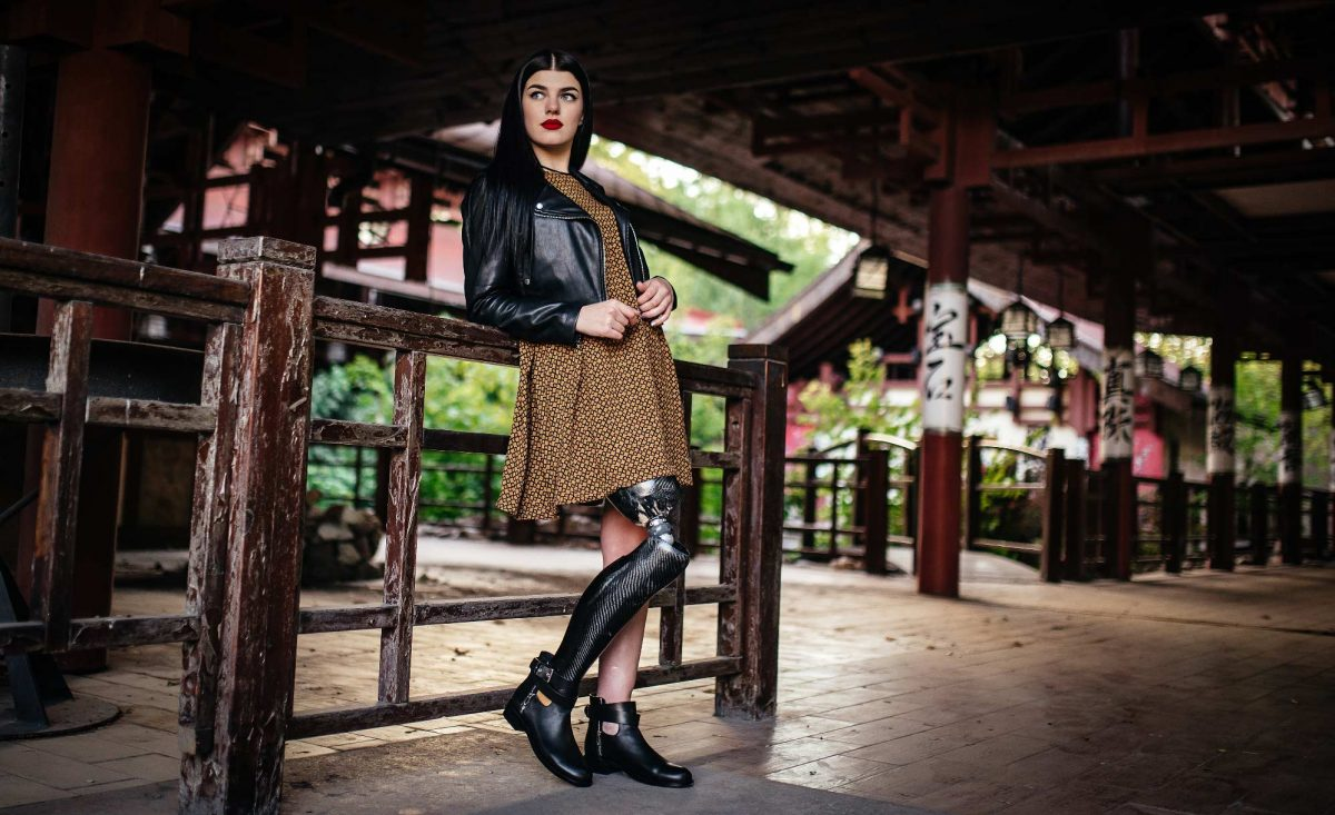disabled woman with a prosthesis leg