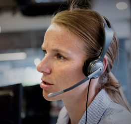 female support phone operator with headset