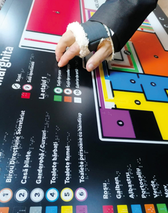 person reading the tactile map