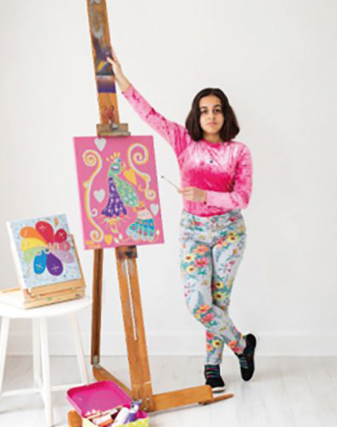 Thomais with her drawings