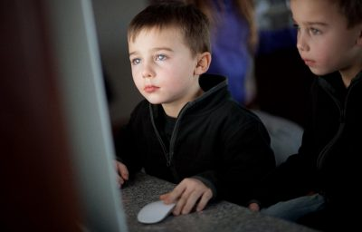 Little boys using computer