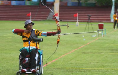 wheelchair archery athlete, compete at asian paragames held in Solo, central java, indonesia