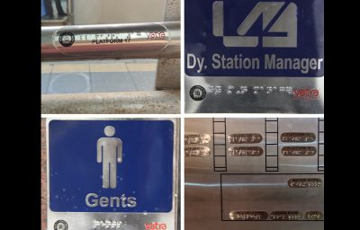 Braille signages at various points at the CSMT station