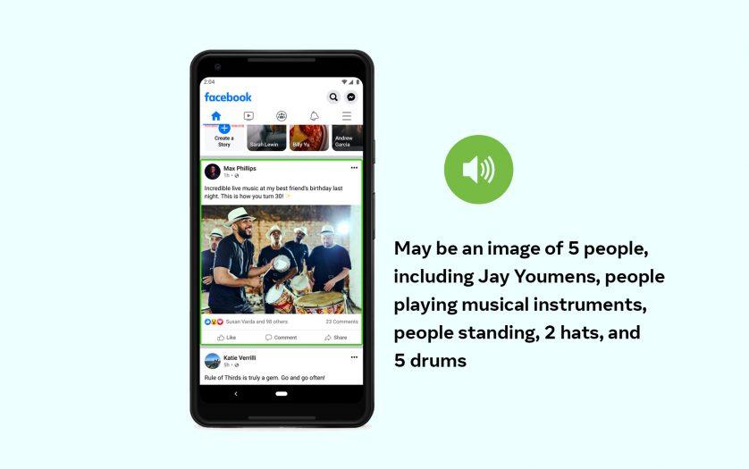 Facebook news feed in mobile device, describing image