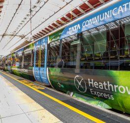Heathrow express train at the platform in Paddington railway station. London, England
