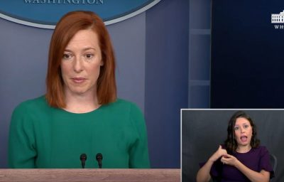 White House press secretary Jen Psaki speaks during a press briefing at the White House with ASL, YouTube