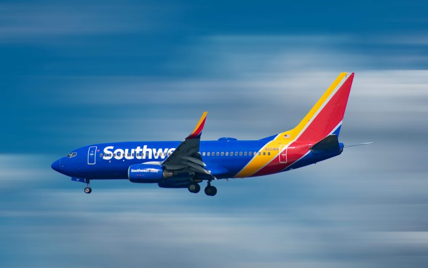 Southwest Airlines aircraft preparing to land in airport