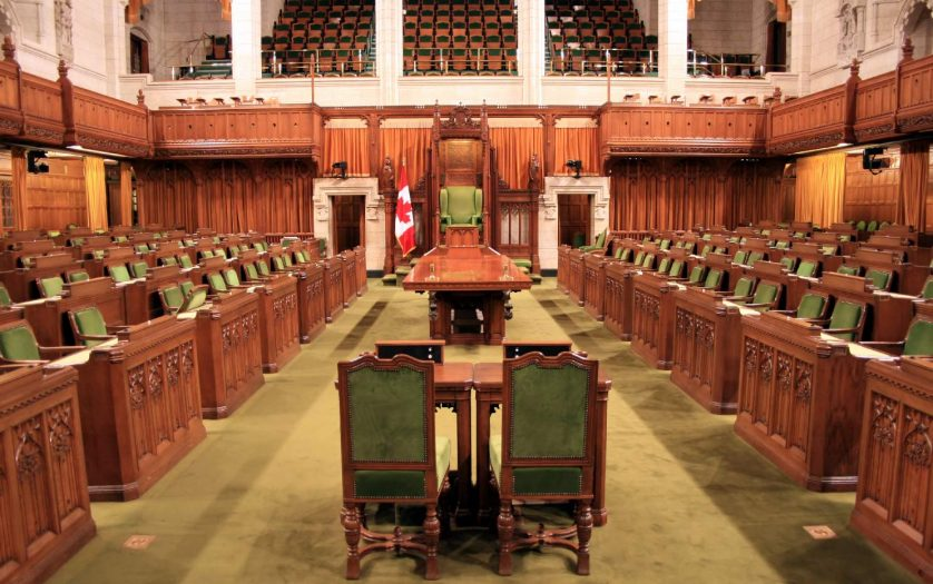 The Canadian Parliament showing the floor of House of Commons in the capital of Ottawa.