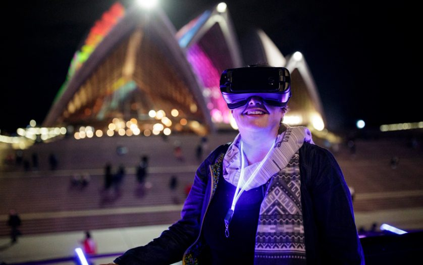 person using the IrisVision Headset