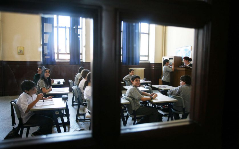 Elementary school students studying in classroom in Istanbul