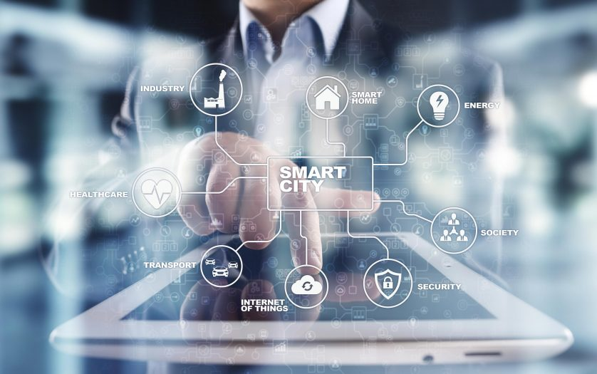 Smart city. IOT, innovation and automation concept on virtual screen