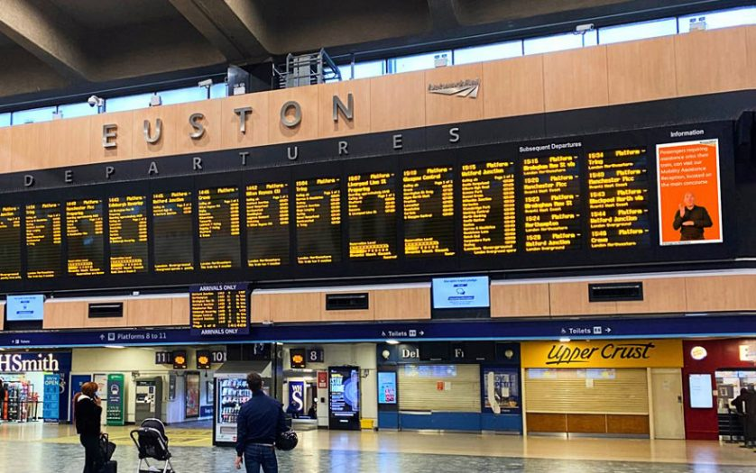 British Sign Language Screens viewed from the concourse at London Euston