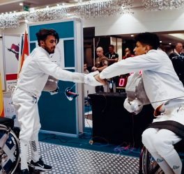 Wisam Sami competed at his first international wheelchair fencing competition in 2019