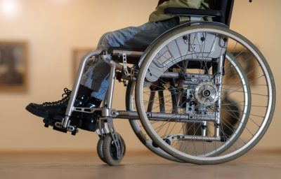 Disabled girl in a wheelchair