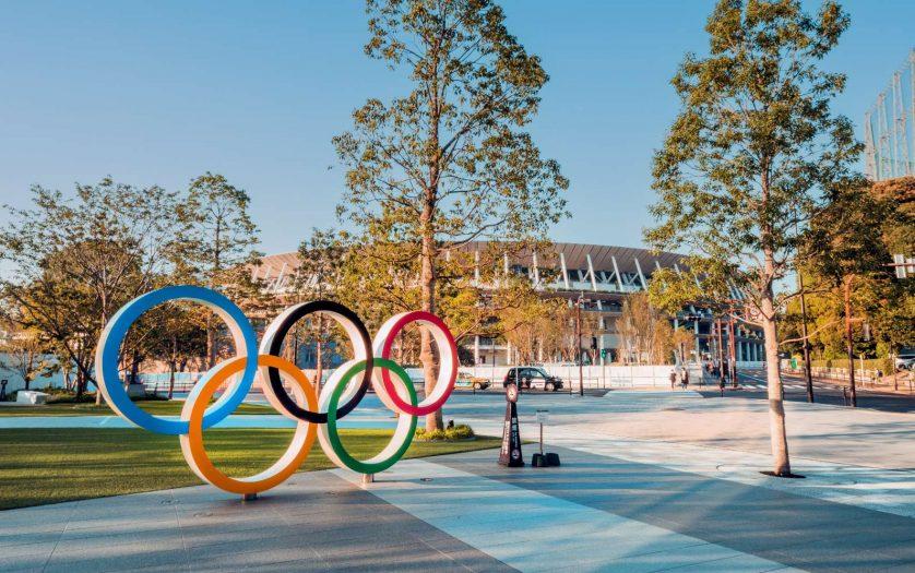 Tokyo Olympic Symbol logo at Shinjuku Stadium