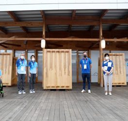 IPC President Andrew Parsons, Tokyo 2020 President Seiko Hashimoto, Governor of Tokyo Yuriko Koike, and Tokyo 2020 Village Mayor Saburo Kawabuchi standing in front of Paralympic Mural at the Village Plaza