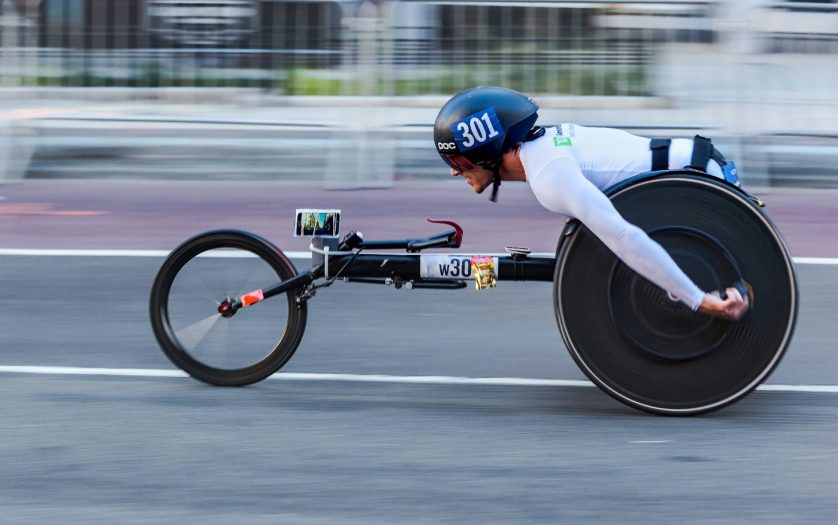 Racing in a wheelchair during the New York Marathon