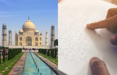 Collage of two images, left Taj Mahal, right, a person reading braille