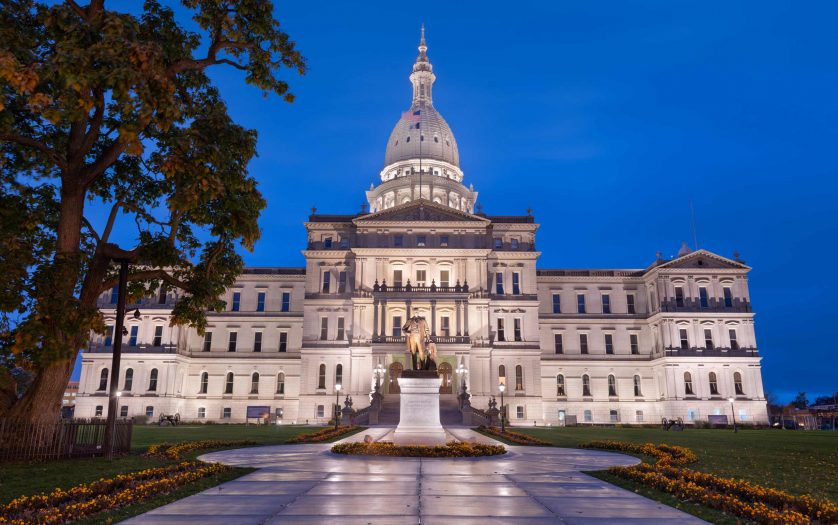 Michigan State Capitol Building in blue hour